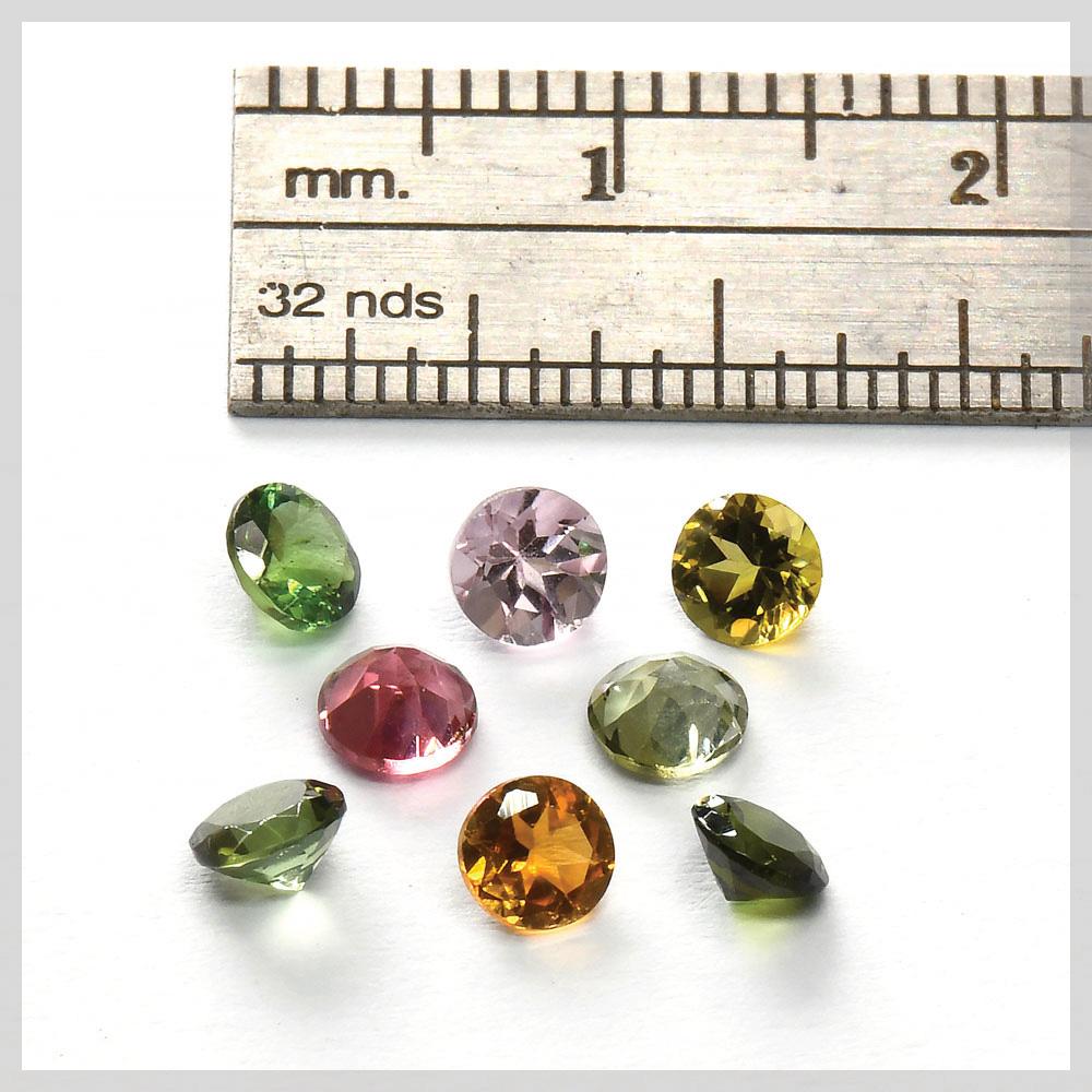 Round brilliant cut tourmaline gemstones