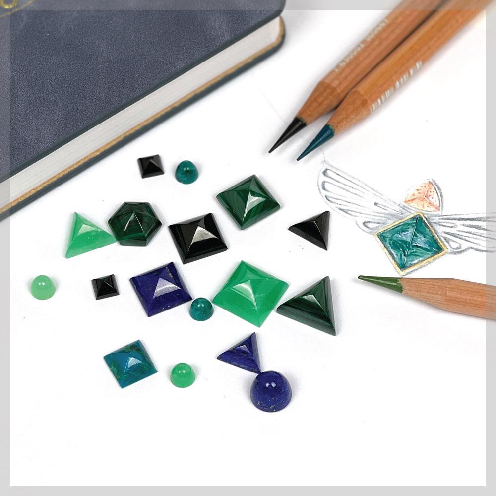 Chunky cabochon gemstone set