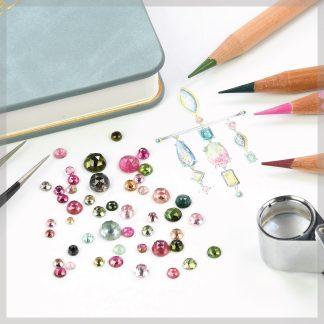 Rose cut tourmaline gemstones