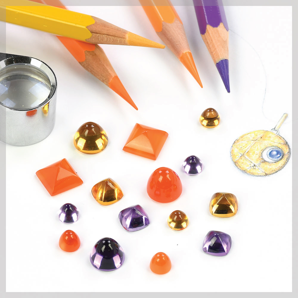 Citrine, amethyst and carnelian high domed cabochons