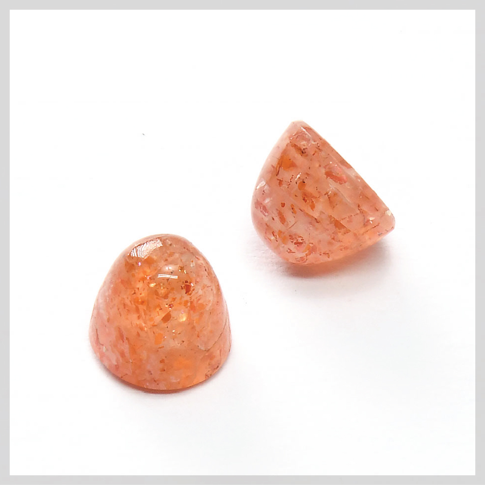 Sunstone bullet shaped high dome cabochons