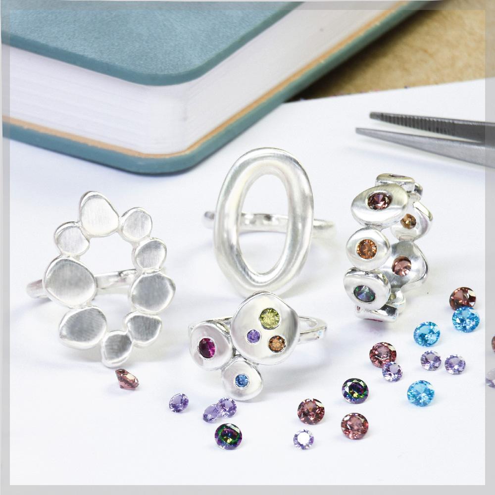 Sterling silver flush setting practice rings
