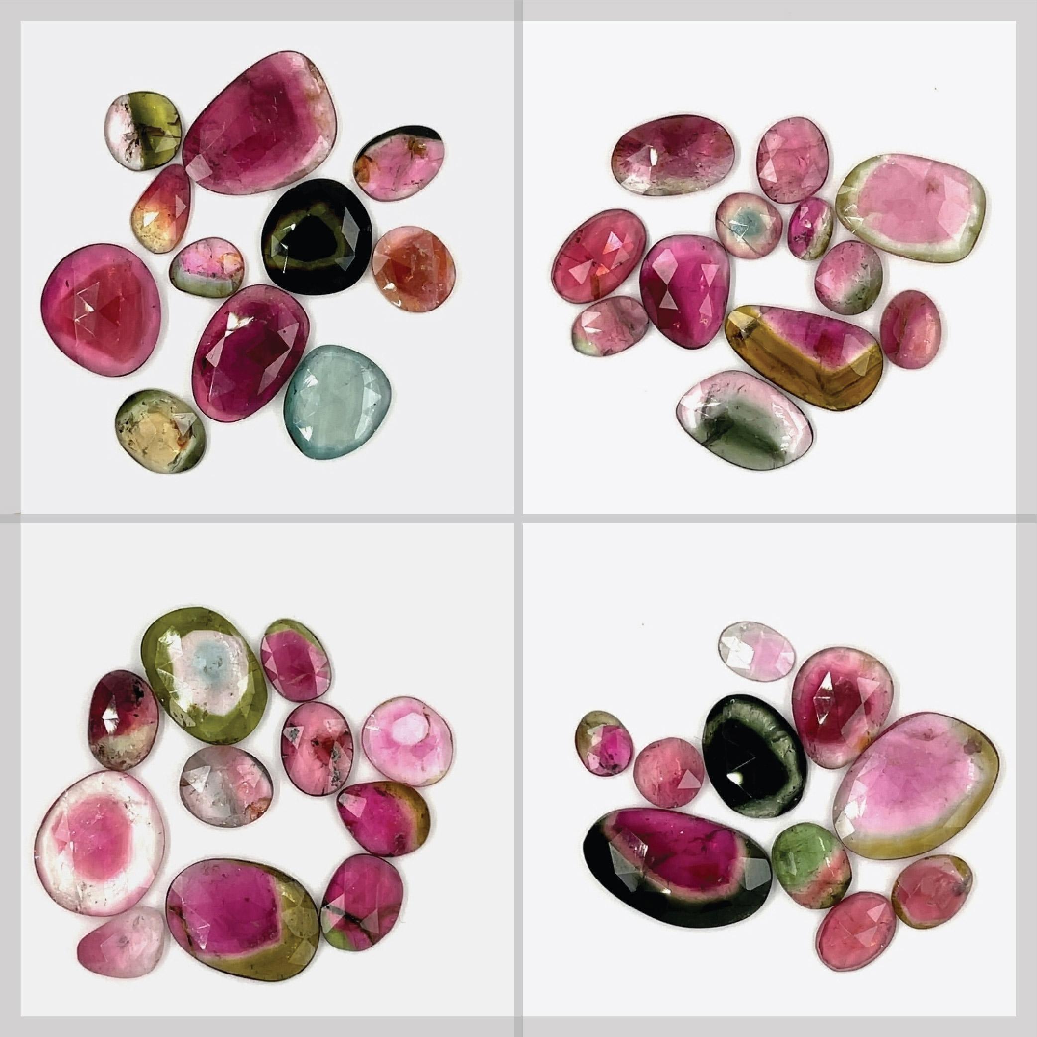 Rose cut watermelon tourmaline for jewellery making