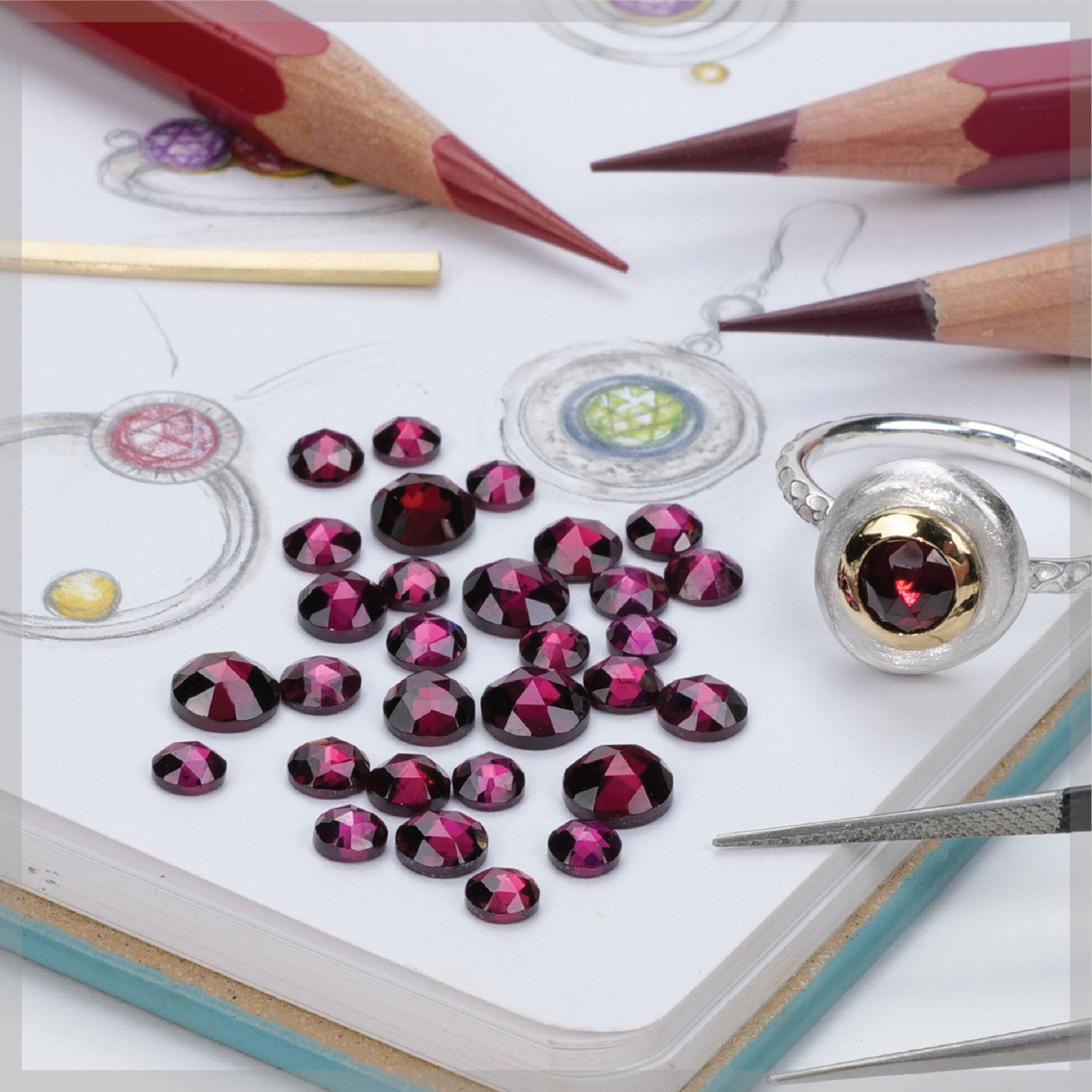 Round rose cut rhodolite garnets